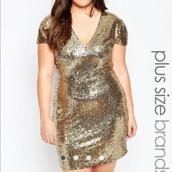 Club L Plus Size Gold Sequin Dress, Size 18